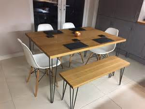solid oak dining tablehairpin leg table solid oak kitchen
