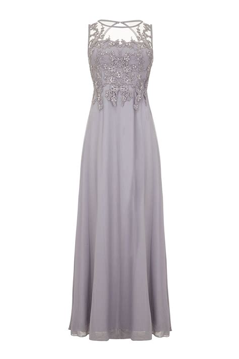 Dress Maxy Grey quiz grey lace sequin maxi dress in gray grey lyst