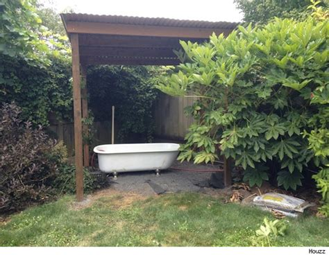 use a salvaged tub to turn your backyard into a soothing oasis