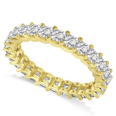asscher cut eternity wedding band ring 14k yellow