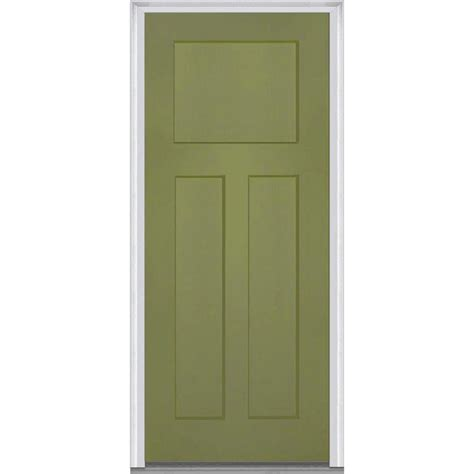 Prehung Fiberglass Exterior Doors Mmi Door 32 In X 80 In Right Inswing Craftsman 3 Panel Shaker Classic Primed Fiberglass
