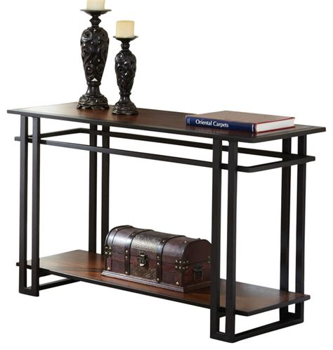 Metal Sofa Table Steve Silver Sofa Table In Black Metal And Cherry Traditional Console Tables By