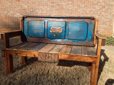 old truck tailgate bench vintage blue red rust ford tailgate bench 1951 by