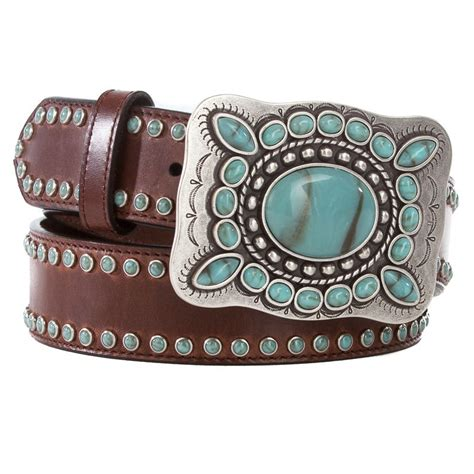 shop s 3d brown leather turquoise studded belt