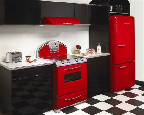 red appliances for kitchen unique red vintage kitchen the reviving style