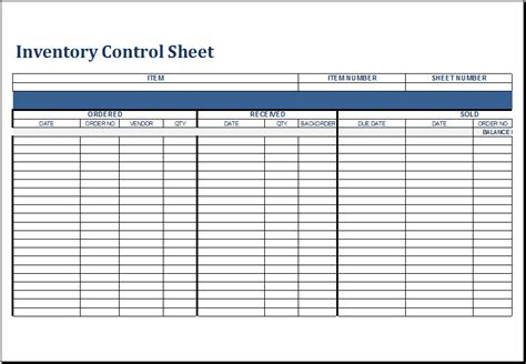 Ms Excel Inventory List Templates Document Templates Inventory Template Sheets