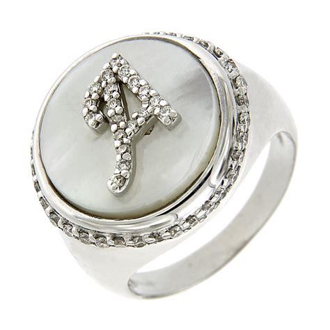 gioielli con lettere anello con lettera a diamanti e madreperla italiana