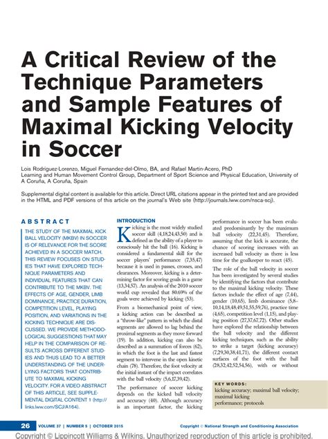 critical review   technique parameters  sample features  maximal kicking