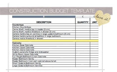home renovation budget spreadsheet template best photos of residential construction budget template