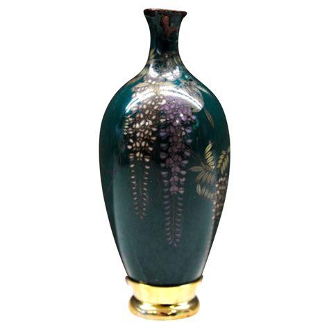 japanese antique miniature cloisonne wisteria vase from