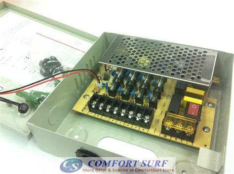 Power Supply Cctv Sentral Box 12volt 10a secureyes iron box 12v 3a 10a 30a 9 18 channel alarm cctv