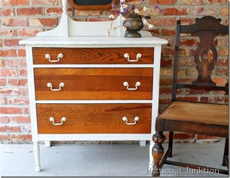 white painted oak dresser repurposed furniture before and after white paint oak