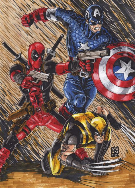 captain america vs wolverine wallpaper deadpool captain america wolverine colors by gabred hat
