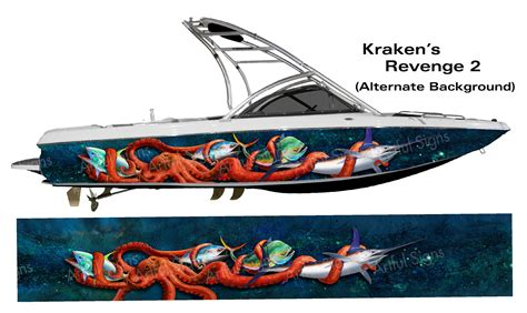 vinyl wrap bottom of boat the krakens revenge 2 boat wrap customized to fit your