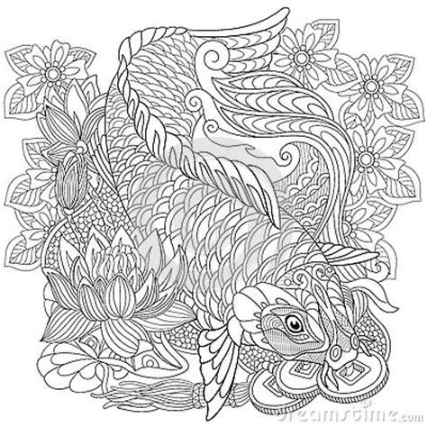 Shirt Aqua Motive Wave Black zentangle stylized koi carp stock vector image 72910194