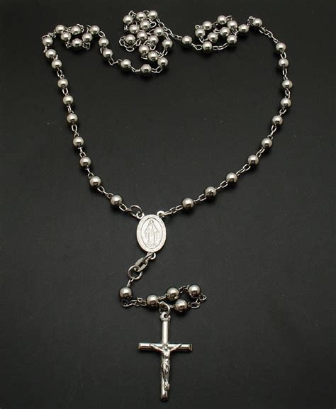 Platinum Clad Sterling Silver Rosary Necklace Cross Ebay