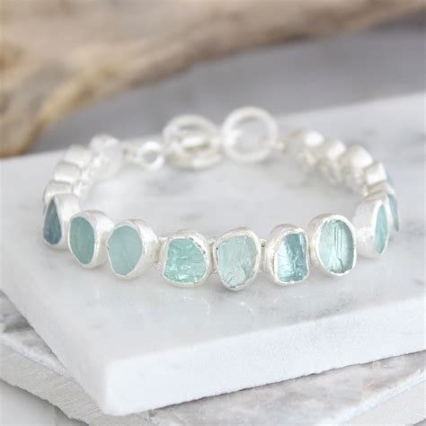 Handmade Sterling Silver Bracelets - aquamarine gemstone designer handmade sterling silver