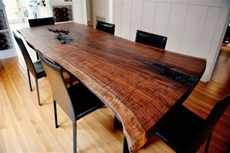 handmade live edge modern walnut dining table by
