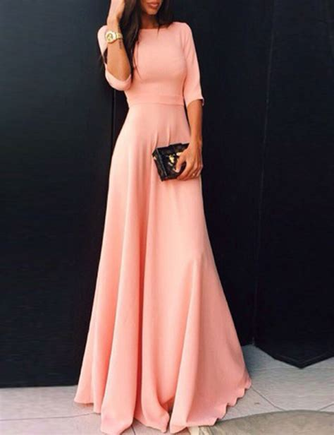 dressing beautifully for dinner 2017 coral long satin modest bridesmaid dresses with half