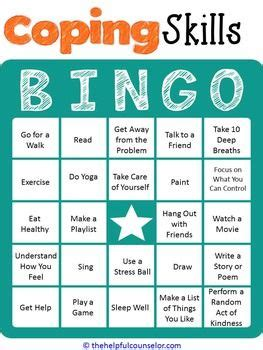 anger management bingo cards printable coping skills bingo game coping skills bingo games and teen