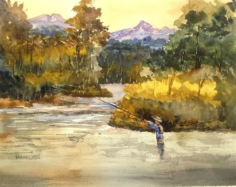 painting montana montana fly fishing painting by larry hamilton