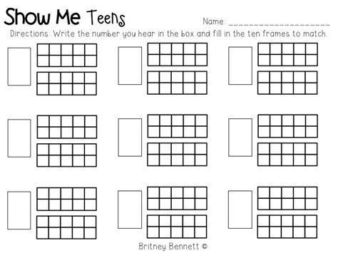kindergarten ten frame number worksheets math