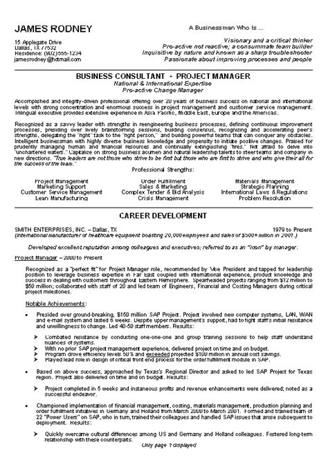 business resume exle sle
