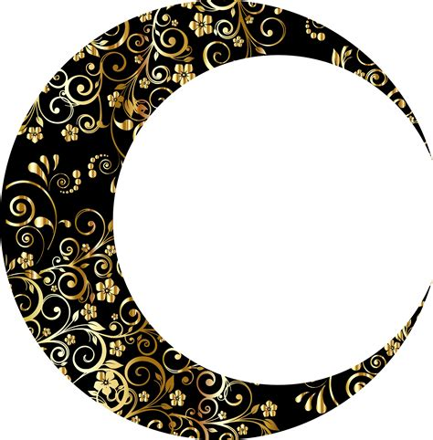 clipart gold floral crescent moon mark ii 5
