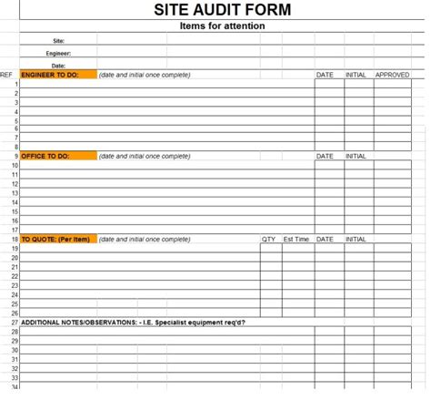 template in excellent sle of site audit form template in excel