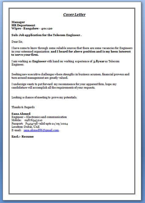 Telecommunications Network Engineer Cover Letter by Writing A Cover Letter For A