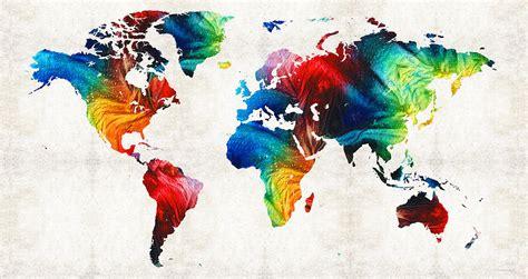 world map  colorful art  sharon cummings painting