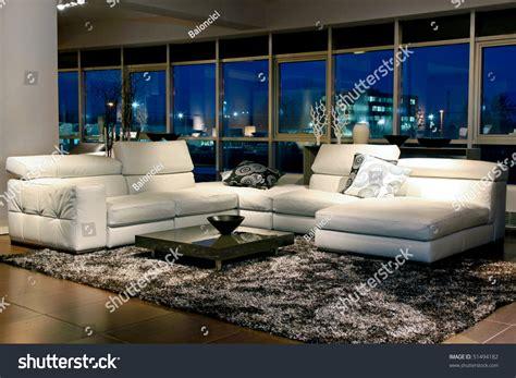 spacious living room beautiful view through stock photo
