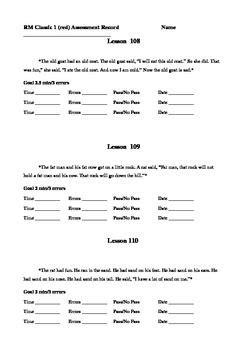 Reading Mastery Classic 1 Assessment Record | Reading