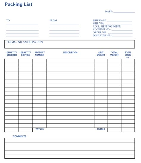 blank packing list template packing list template cyberuse