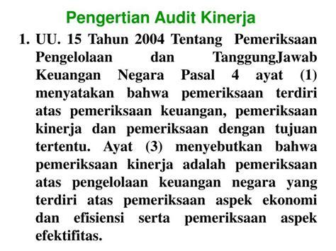 Pemeriksaan Kinerja Performance Auditing ppt audit kinerja dengan menggunakan powerpoint presentation id 3844293