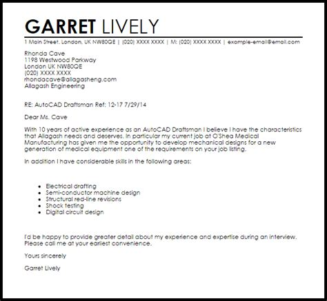 cover letter for drafting position autocad draftsman cover letter sle livecareer