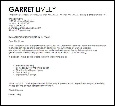Autocad Draftsman Cover Letter Sample   LiveCareer