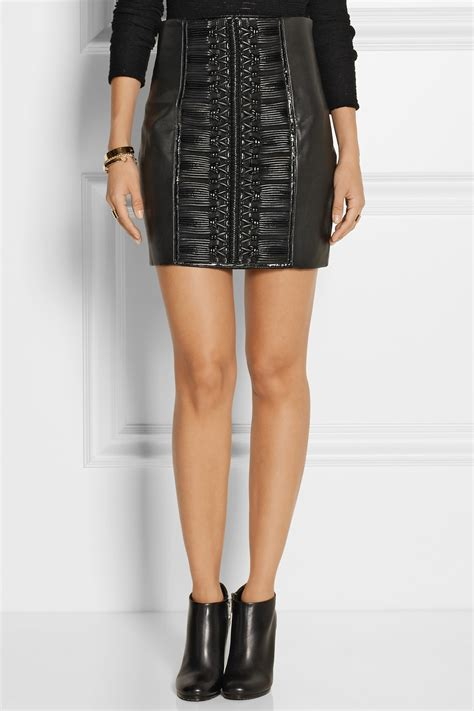 balmain embroidered leather mini skirt in black lyst