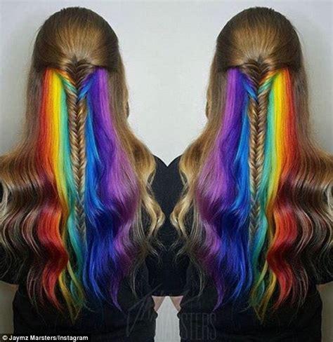 underlay hairstyles women show off their hidden secret rainbow hair colour