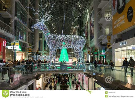 christmas decorations at eaton centre in toronto editorial