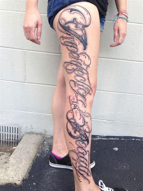 tattoo letters leg portfolio big meas