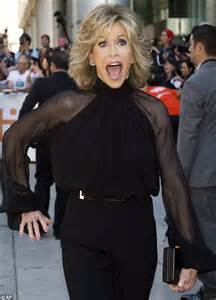 jane fonda hairstyle 2014 this where i leave you movie jane fonda 76 wears a black sheer sleeved pantsuit at