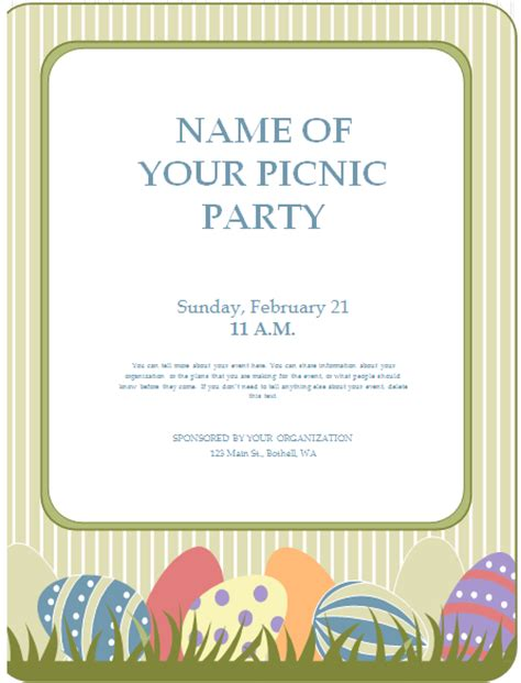 Editable Printable Ms Word Picnic Party Flyer Template Word Excel Templates Picnic Flyer Template Word