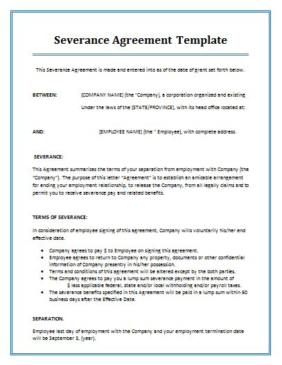 Severance Agreement Template By Agreementstemplates Org Severance Agreement Template