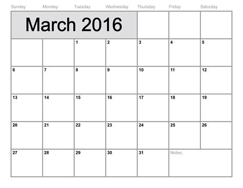 March 2016 Calendar Printable March 2016 Calendar Printable Template 8 Templates