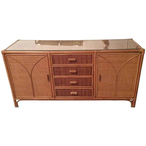 Rattan Credenza rattan sideboard wicker vintage credenza buffet dresser palm tropical at 1stdibs