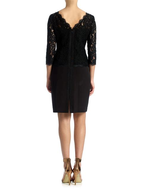 3 4 Sleeve Lace Dress papell 3 4 sleeve lace cocktail dress in black lyst