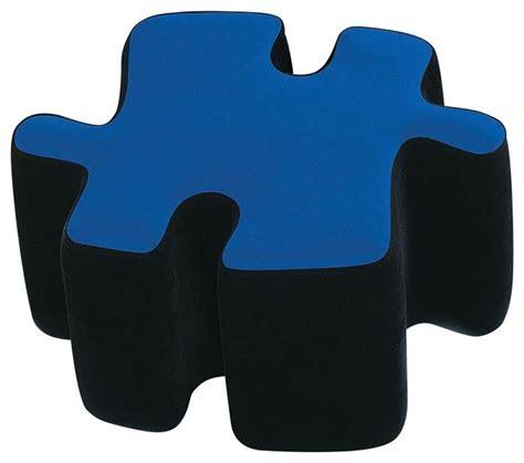 Two Tone Puzzle Piece Ottoman In Blue Black