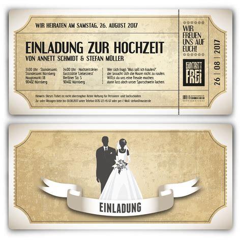 Hochzeitskarten Foto by Einladungskarten Zur Hochzeit Als Vintage Ticket In Wei 223