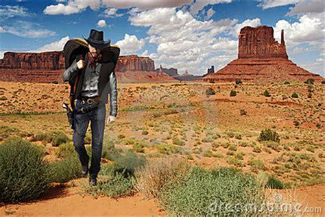 cowboy crossing  desert stock images image